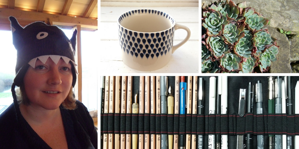 Photo of Heidi Ball, her favourite mug, a little bit of nature and lots of illustrative tools.