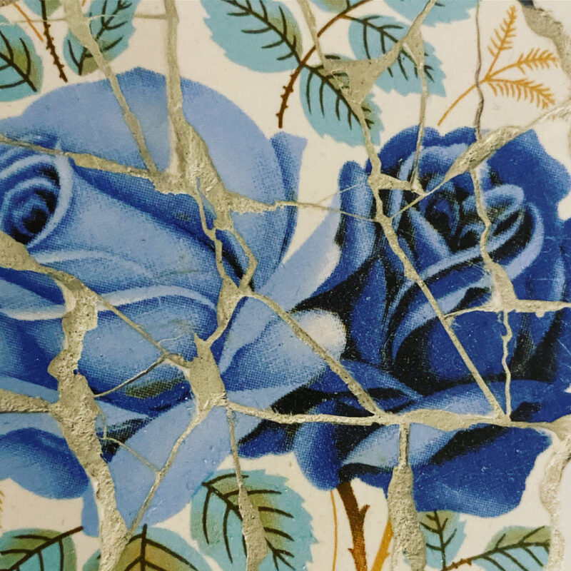Mosaic pattern of blue roses