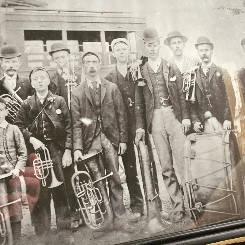an old photo of a brass band