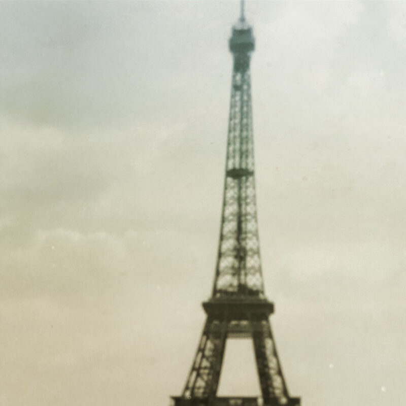 Old photo of the Eiffel Tower